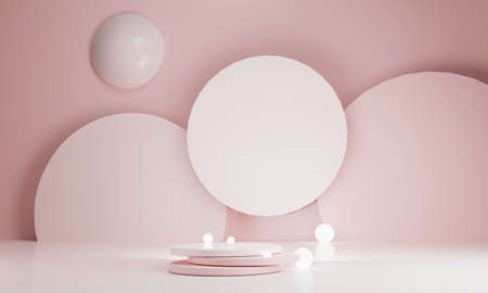 Cosmetic podium product minimal scene with platform background 3d render. Display stand for Valentine pink color mock up. stand to show beauty stage backdrop on pedestal. Simple Cylinder Sweet design