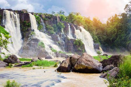 dalat: Pongour Falls  beautiful waterfall  in rain season ,dalat ,vietnam