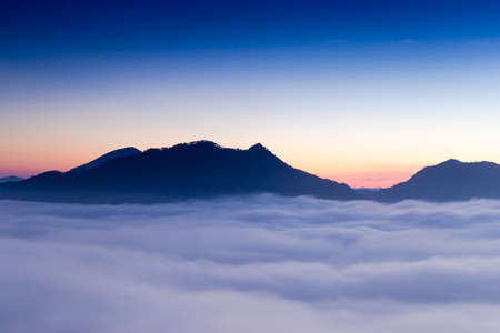 tog: Beautiful sun rise at pho tog mountain and the mist in thailand