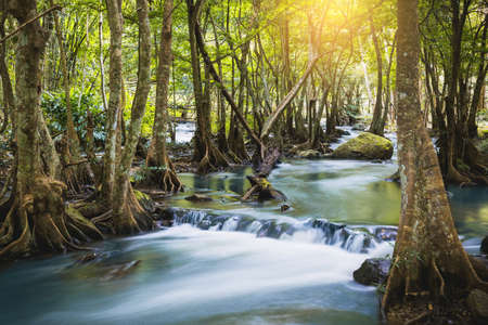 Klong lan waterfall, beautiful waterfall in rainforest at Kampangphet, Thailand.