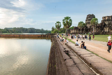 Siem reap, cambodia, 13 oct 2017 - Cambodia, Siem Reap, Angkor wat khmer temple landscape photography with tourist