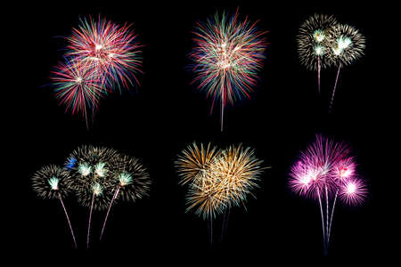 Festive patterned of Colorful assorted firework bursting in various shapes sparkling pictograms set against black background abstract  Stock fotó