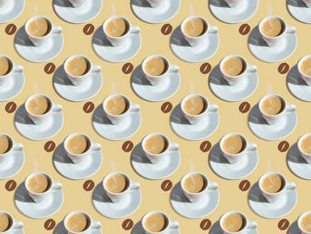 Seamless pattern with a cup of coffee and painted coffee bean on a light beige background.