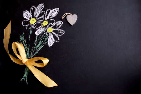 Postcard for the holiday of Valentines Day, birthday, womens day. Blackboard with chalk-drawn flowers. Banner, postcard.