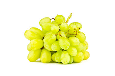 environmen: Photo of green grapes on white background
