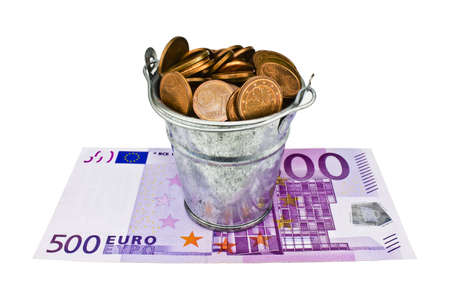 bucket of money: a bucket of money for 500 euro banknote Stock Photo