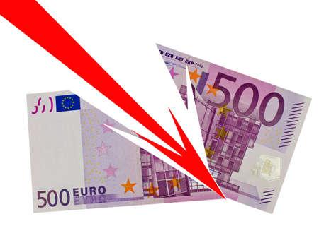 Fallender Euro auf weisem hintergrund Stock Photo - 12589261