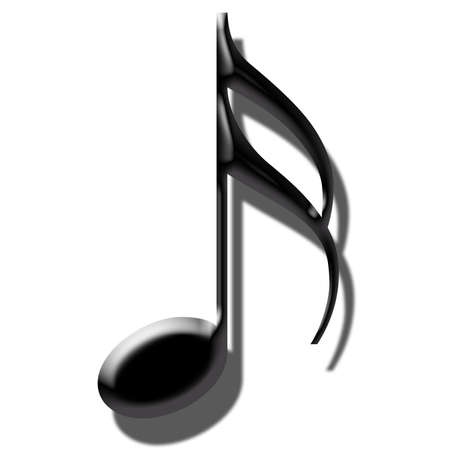 l red: 3 D music note black Stock Photo