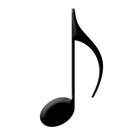musical note: Musical note with a black glossy finish Stock Photo