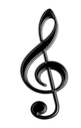 black treble  isolated at the white background photo