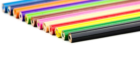 vertica: Set of color pencils on a white background Stock Photo