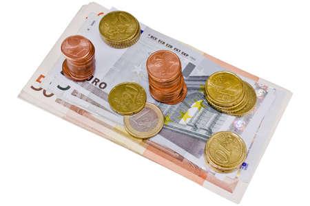 Banknotes euro on white background Stock Photo - 12590133