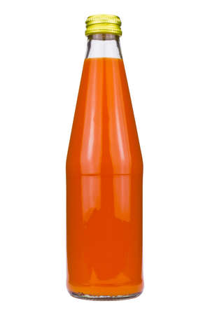 bottle of carrot juice on a white background photo