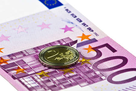 two and five hundred euros on a white Stock Photo - 13089297