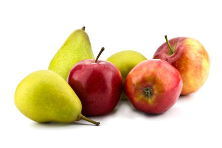 Juicy apples and pears on white