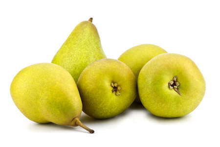 Five pears on the white background photo