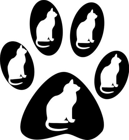 animal paw prints: Cat and its paw prints on white background