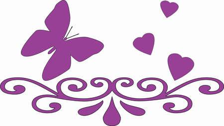 r image: Un fondo blanco con un patr�n de gran coraz�n swirly y peque�as mariposas