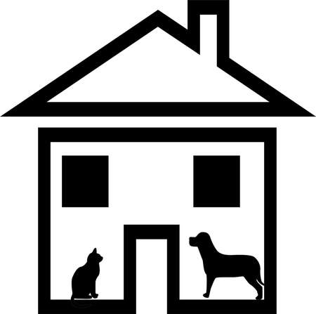welcome home:  House, a dog, a cat on white background