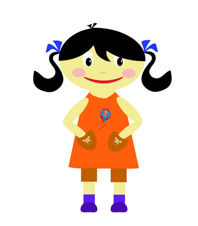 poult: Chica con vestido naranja sobre un fondo blanco