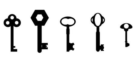 antique keys: Five key silhouettes drawn from actual antique keys  Illustration