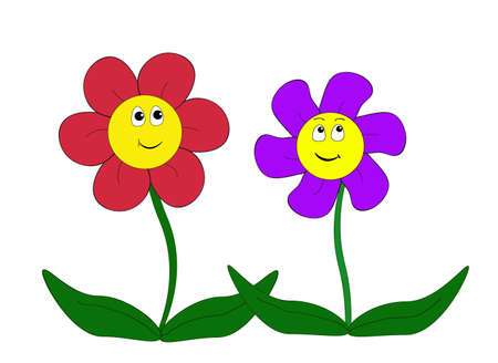 flora: Two cartoon flowers - illustration