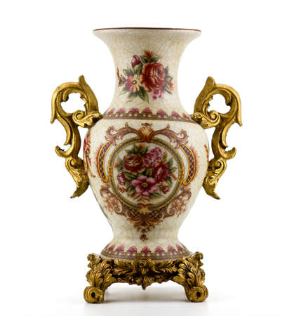 Chinese antique porcelain vase isolated on white photo