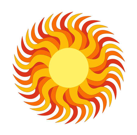Cute sun company logo illustration   clipart isolate on white background Vector
