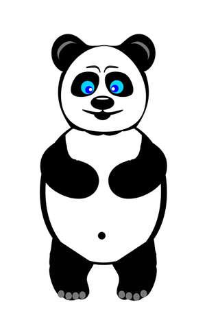panda cub: A cartoon baby panda bear cub smiling and happy