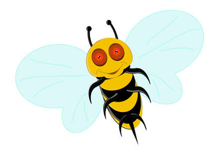 Illustration of a Friendly Cute Bee Showing And Flying Vector