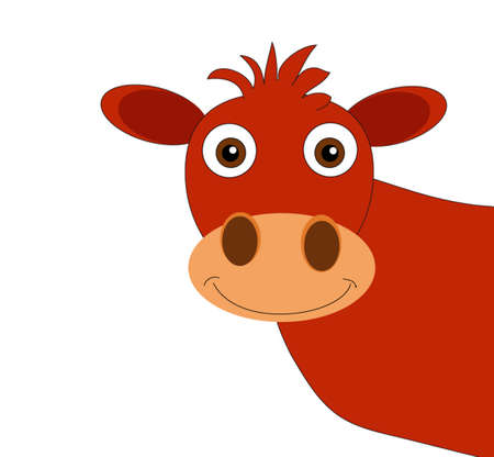 Illustration of funny cow isolated Vector