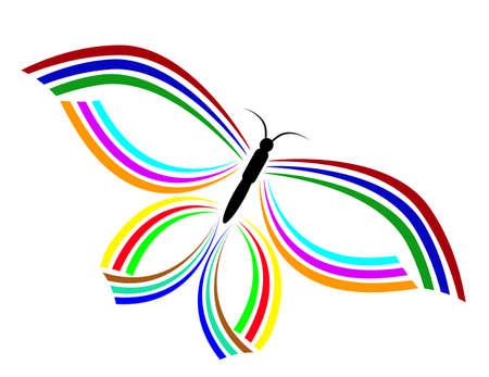 一隻蝴蝶標誌孤立的背景插畫藝術 向量圖像