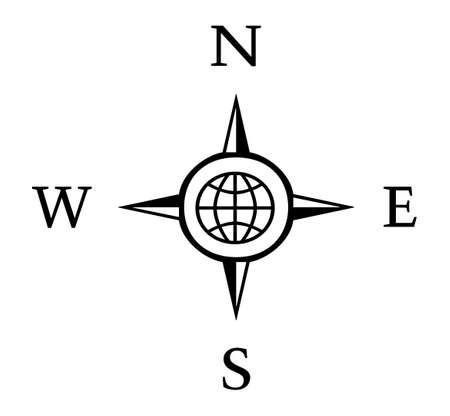 southwest: Kompas illustratie met Noord Zuid Oost West Stock Illustratie
