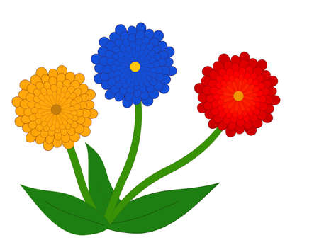 Three cartoon flowers - vector illustration  Vector