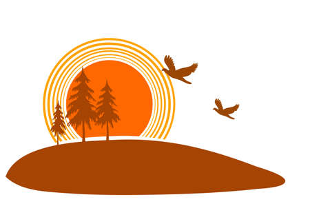 three trees at sunset, illustration  Stock Vector - 15643624
