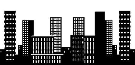 city skyline night: Vector illustration of a city skyline on a white background