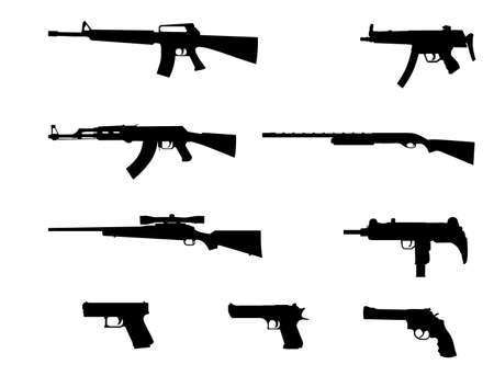 Silhouettes of pistol, revolver,  automatic weapons  Vector