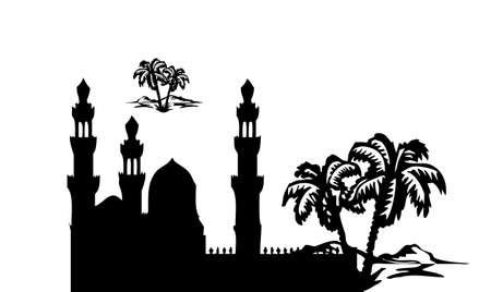 Mosque building silhouette black vector Stock Vector - 15787822