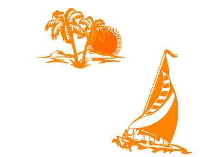 Ship in the sea and palm on a beach Stock Vector - 15787819