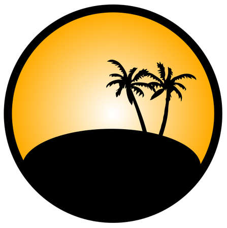 Tropical island with palm tree Stock Vector - 15787834
