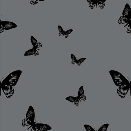 Seamless grey background with butterfly Vector