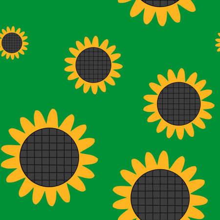 Vector yellow sunflower flower seamless background pattern Stock Vector - 15787824