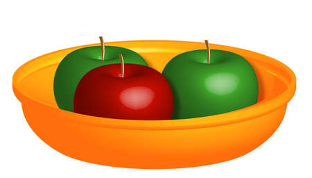 dappled:  three apples in a bowl on a white background