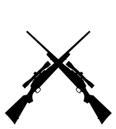 two sniper rifles on the white background Vector