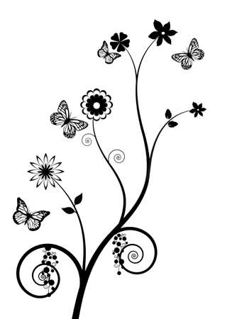 Black and white background with butterflies and flowers Stock Vector - 15894103