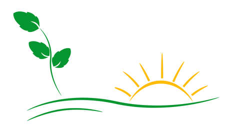 Ecology theme logo template with leaf and sun Vector
