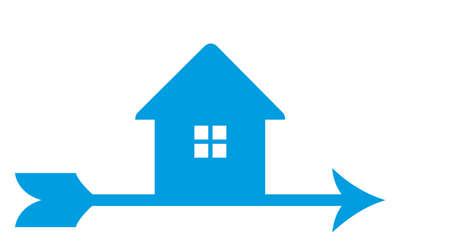 casa logo: Isolato line art logo della maison