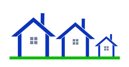homes for sale: three blue houses on white background