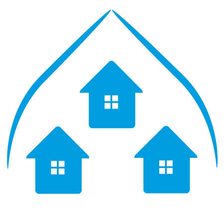 Logo Houses in blue roof and windows Stock Vector - 15894099