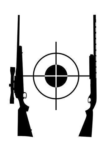 target and two rifles on a white background Stock Vector - 15894098